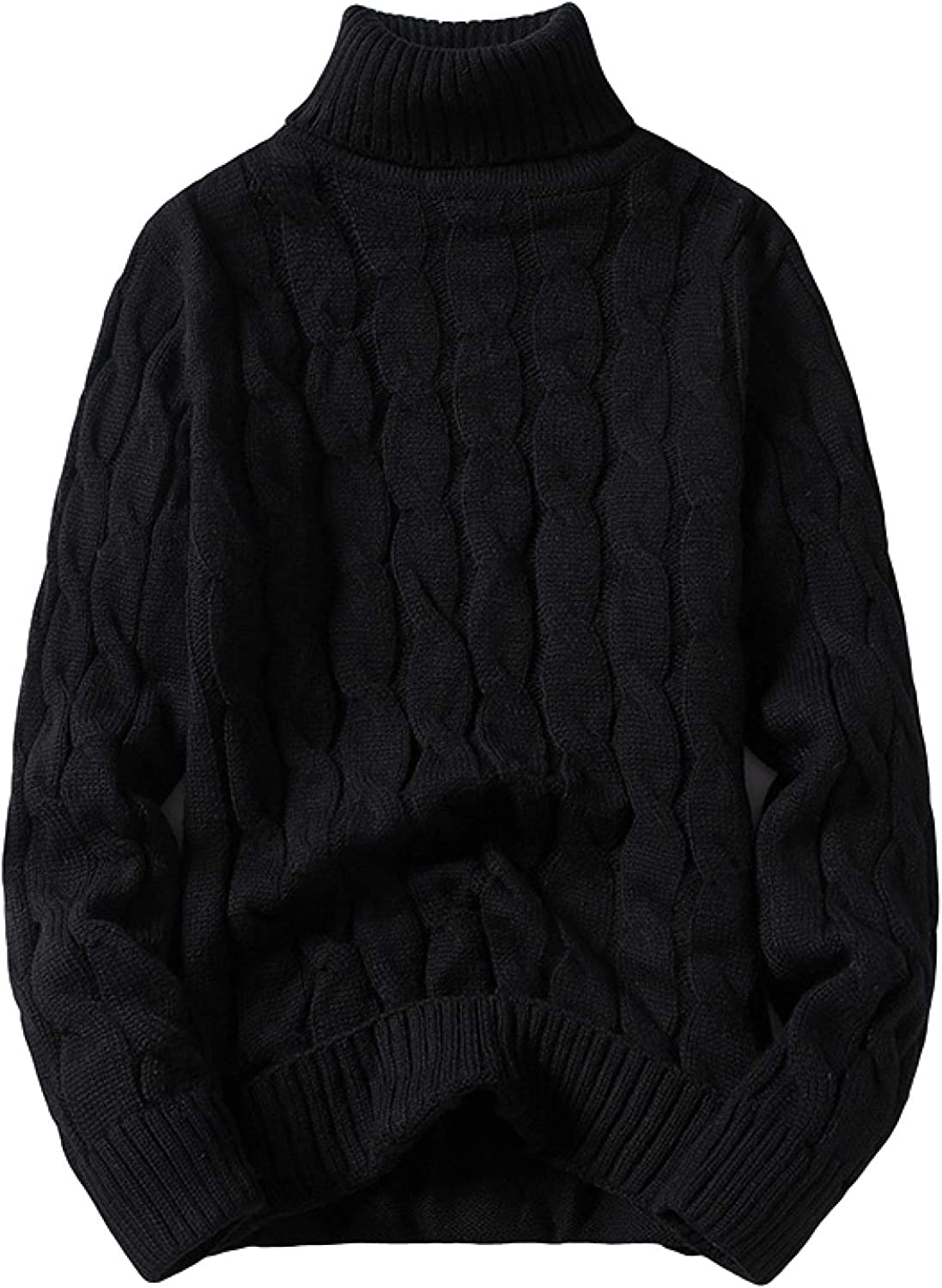 Capabes Mens Turtleneck Slim Fit Twisted Knitted Casual Pullover Jumpers Winter Solid
