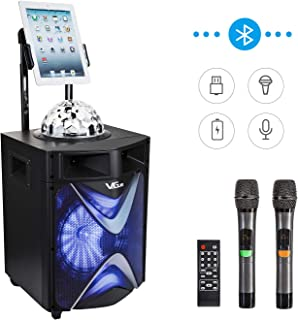 Portable Wireless PA Speaker System with 200W 10'' Woofe Bluetooth Karaoke Machine, Disco Ball, 2 UHF Wireless Microphones, Phone/Tablet Holder, Ideal for Party, Performance, outdoor&indoor activities