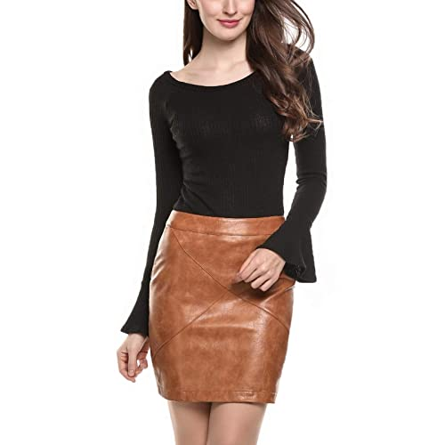 08d55e4506d9 Meaneor Women Classic High Waist Faux Leather Bodycon Slim Mini Pencil Skirt