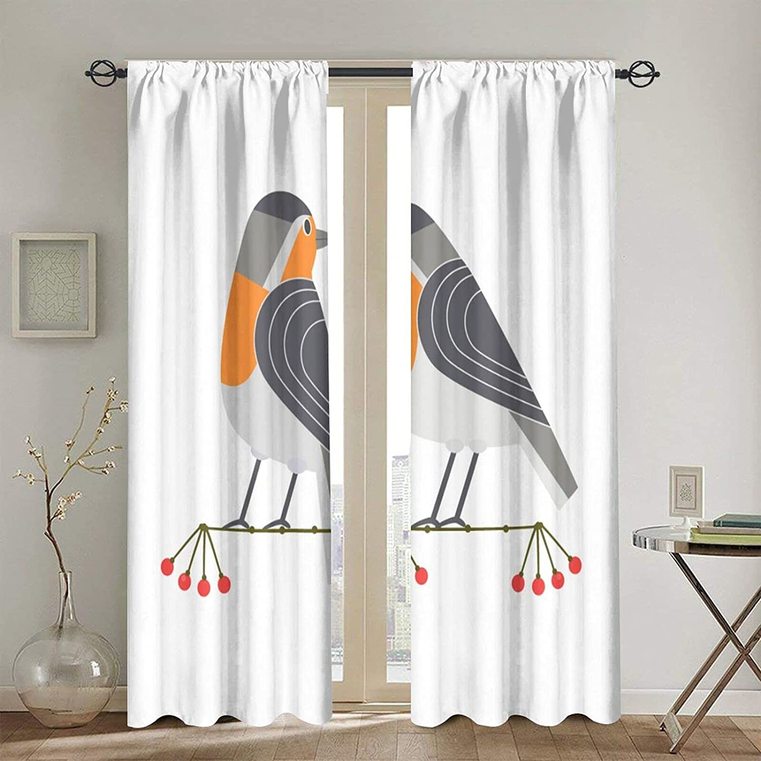 Blackout Minneapolis Mall Curtains Branded goods for Girls Boys Cute Icon Birds Freehand Robin