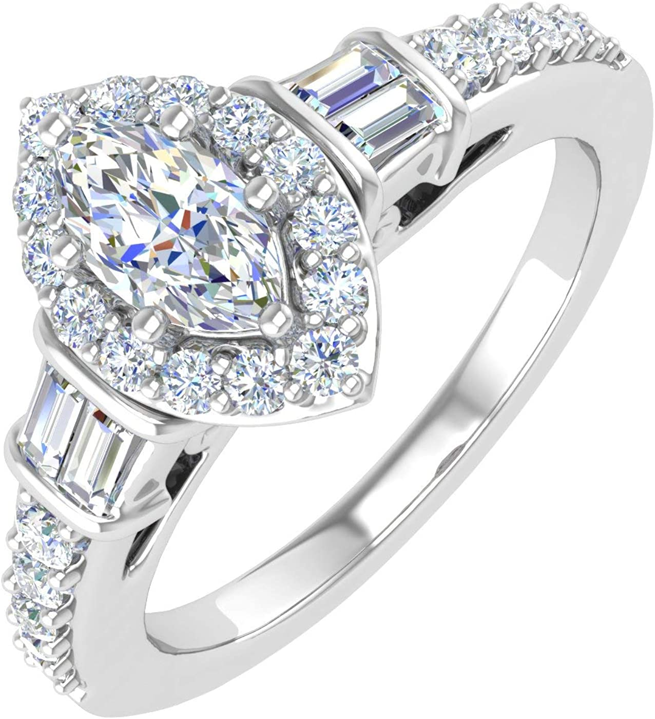 3 4 Carat Diamond Engagement Ring Rare Band White Gold 14K Max 67% OFF in