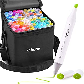 Ohuhu 100 Colors Alcohol Art Markers, Double Tipped Coloring Marker Set, Comes With 1 Colorless Blender, Fine And Chisel A...