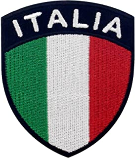 EmbTao Italy Shield Flag Patch Embroidered Applique Iron On Sew On Italian National Emblem