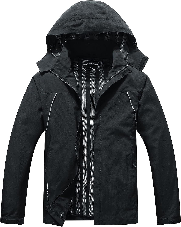 Men's Lightweight Rain Jacket Waterproof and Breathable Coat Outdoor