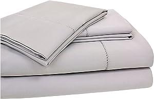 Elite Home 400 Thread Count Hemstitch Solid Sheet Set, California King, Grey