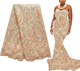 WorthSJLH African French Lace Fabrics 5 Yards Gold Bridal Lace Fabric 2018 Nigerian Lace Fabric with Beads and Rhinestones LF854 (Gold)