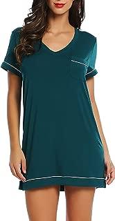 Joyaria Womens Soft Bamboo Nightgown Adjustable Spaghetti Strap Dress V Neck Short Sleepwear Comfortable Nighties