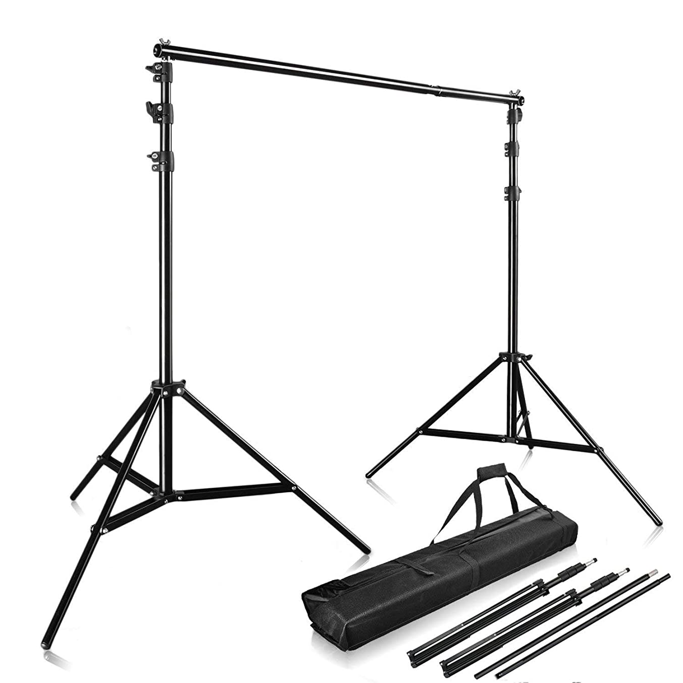 PHOTO MASTER Photography 10Ft x 9Ft Photo Video Studio Telescopic Aluminum Alloy Adjustable Portable Background Backdrop Stand Support System Kit Tripod with Carry Bag and Cross Bar
