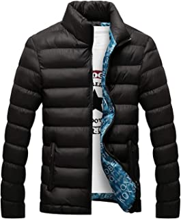 Fashion Stand Collar Male Parka Jacket Mens Solid Thick Jackets and Coats