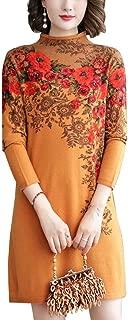 HangErFeng Dress Printed Wool Knitting Stretch Mock Neck Pullover Long Slim Sweater Multi Size Skirt