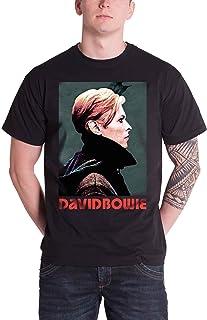 David Bowie デビッド・ボウイ Low Portrait Profile Band ポートレイト・バンド・ロゴ 公式 メンズ ブラック Tシャツ