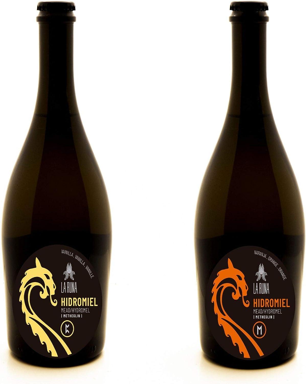 La Runa Hidromiel. Bebida Artesana. Surtido de Sabores.(2 botellas de 0,75cl) (Naranja - Vainilla)