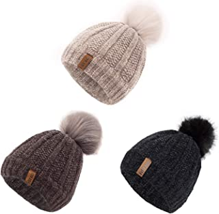 ViGrace Kids Winter Hat Chenille Warm Fleece Lined Pompom...