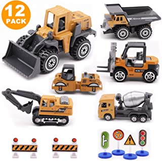 Alloy Construction Engineering Vehicle Toys set 12 PACK Stacker,Big forklift,Heavy duty roller,excavator,Heavy transport vehicle,Engineering mixer, Construction Traffic Sign mini Set for Kids Boys