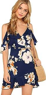 Women's Cold Shoulder V Neck Floral Wrap Beach Ruffle Mini Boho Dress