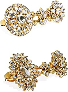 ZAVERI PEARLS Combo of 2 Gold Plated Metal Tone Dual Finger Ring For Women-ZPFK8946
