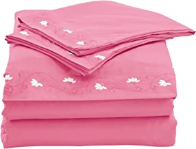 Home Simplicity 90GSM Embroidery Sheet Set, Queen, Pink