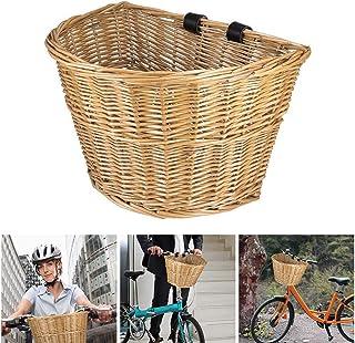 Canasta Delantera de Bicicleta de Mimbre Tradicional Hecha a Mano Retro En Forma de D Accesorios para Bicicleta con Correas de Cuero Verdelife Canasta de Mimbre para Bicicleta