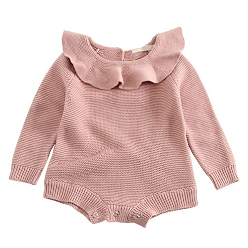 2b04b97b87d Soly Tech Baby Girls Long Sleeve Doll Collar Knitted Sweater Rompers  Jumpsuit