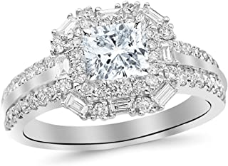 cf53fe569e4 1.2 Cttw 14K White Gold Cushion Cut Double Row Baguette and Round Halo Diamond  Engagement Ring
