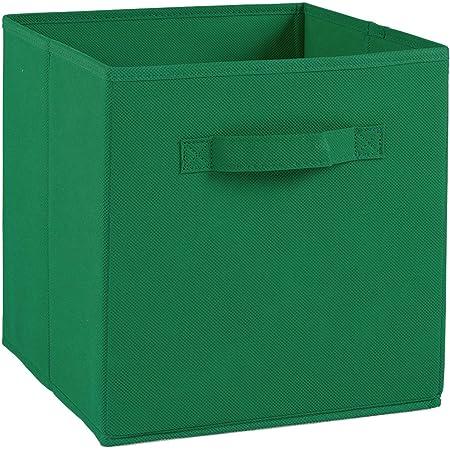 Compo Boîte de Rangement Tiroir avec Poignée en Tissu Vert 27 x 27 x 28 cm