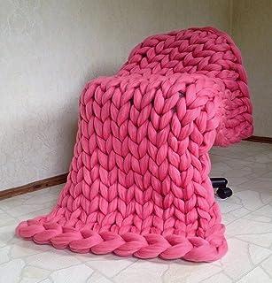 LICHUXIN Couverture géante tricotée à la main en laine épaisse pour canapé, couverture d'hiver tissée à la main, décoratio...