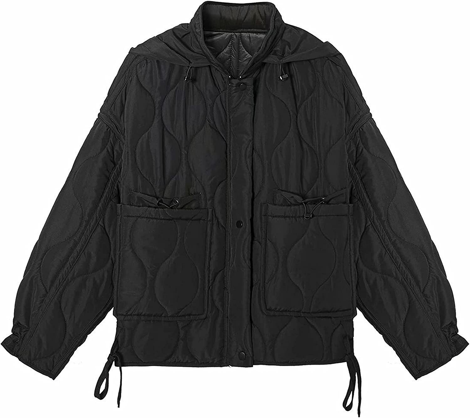 Ailoqing Women's Cotton Padded Jacket Stand Collar Button Up Pocketed Puffer Jacket
