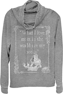 Beauty and The Beast Juniors' Belle Loves Books Cowl Neck Sweatshirt