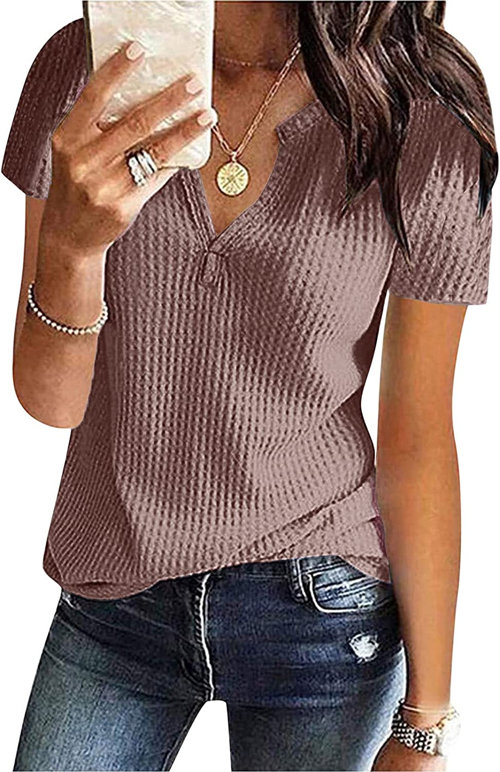Salifun Summer Tops, Women'S Casual Summer Blouse Knit Short Sleeve Tunic Tops V Neck Loose Fit Tshirt Plus Size Basic Tees