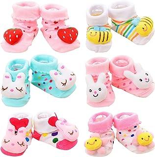 Adorel, Calcetines Antideslizantes con Muñecos para Bebé Niñas Paquete de 6 Rosa 4-12 Meses