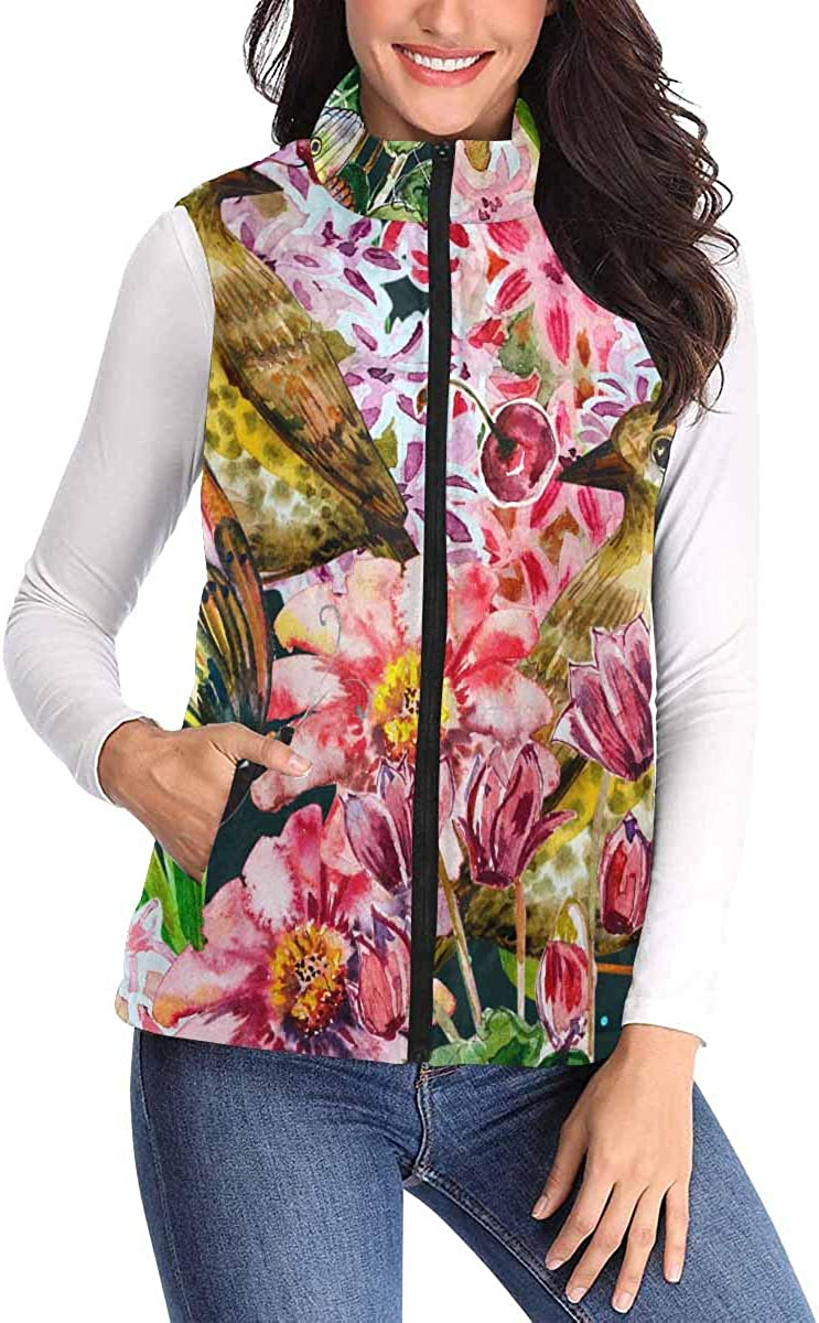 InterestPrint Virginia Beach Mall Max 77% OFF Casual All Over Print with Vest Zip Pocket Padded