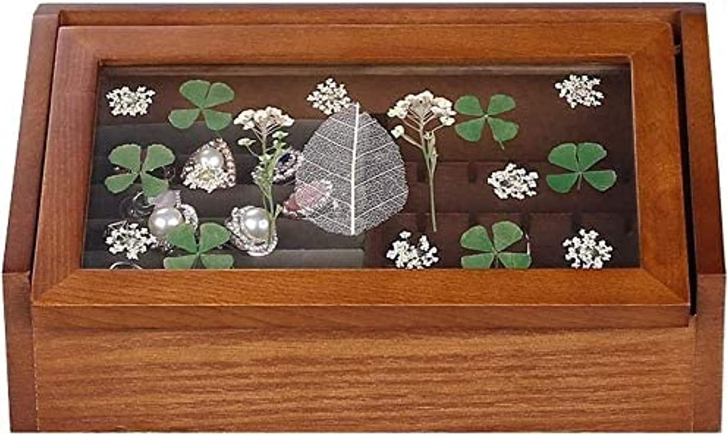 ZXCVBNN security Wooden jewelry box Glass Retro cover 5 ☆ very popular Jewelry cabinet top