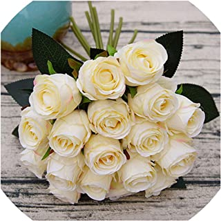 Old street 18pcs/Lots Artificial Rose Flowers Wedding Bouquet White Pink Thai Royal Rose Silk Flowers Home Decoration Wedding Party Decor,Champagne