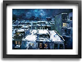 HAINANBOY Cityscape of Jeremy Mann Abstract Artwork Stretched Framed Paintings Easy to Hang for Living Room Office Decor 16x12inches