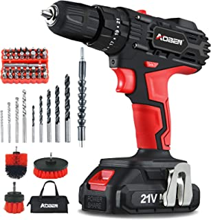 """AOBEN Cordless Drill Driver Kit,21V Impact Power Drill Set (2.0Ah),3/8"""" Keyless Chuck,21+3Clutch,2 Variable Speed,350 in-l..."""