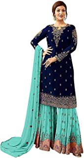 4adee60ae0 Diya Creation Womens Style Embroidered Work Stones Sharara Plazzo free size Salwar  Suit With Dupatta(