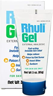 Rhuli Gel (Original Formula) Fast Acting Invisible Itch Relief: Helps Relieve: Poison Ivy/Oaks, Insect Bites, and More. 3 Oz Tube