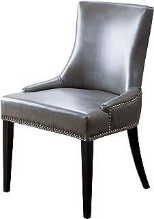 Abbyson Annalise Leather Nailhead Trim Dining Chair, Gray