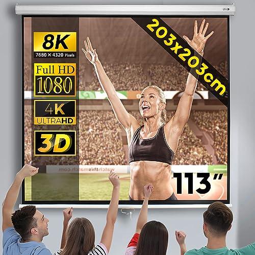 Jago® Écran de Projection 203x203cm - 113 Pouces, Enroulable, Formats 1:1, 4:3, 16:9, HD 4K 3D - Toile de Projecteur,...