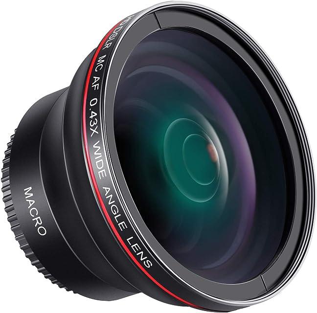 Neewer lente de 0.43X HD gran angular con MACRO close-up parte lente sin distorsión 58 mm