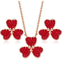 Three Leaves Clover Necklace Earrings Set