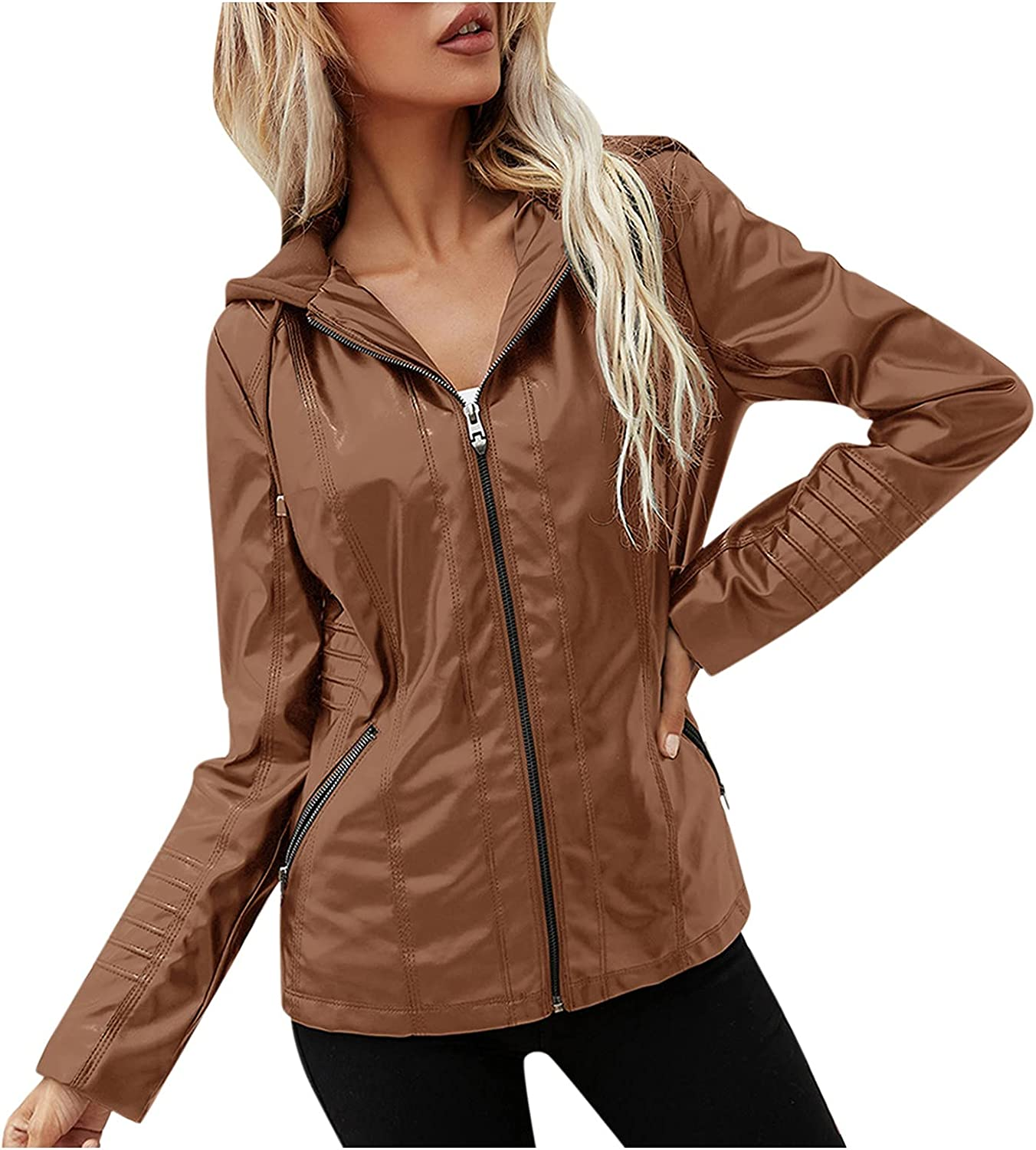 Pinkpaopao Women Casual Fall Hoodie Jacket Leather Zipper Pocket Drawstring Hooded Neck Outwear Solid Color Coat