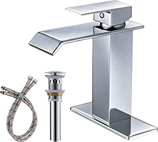 BWE Chrome One Hole Single Handle Square Waterfall Bathroom Sink Faucet Lavatory Faucets Commercial
