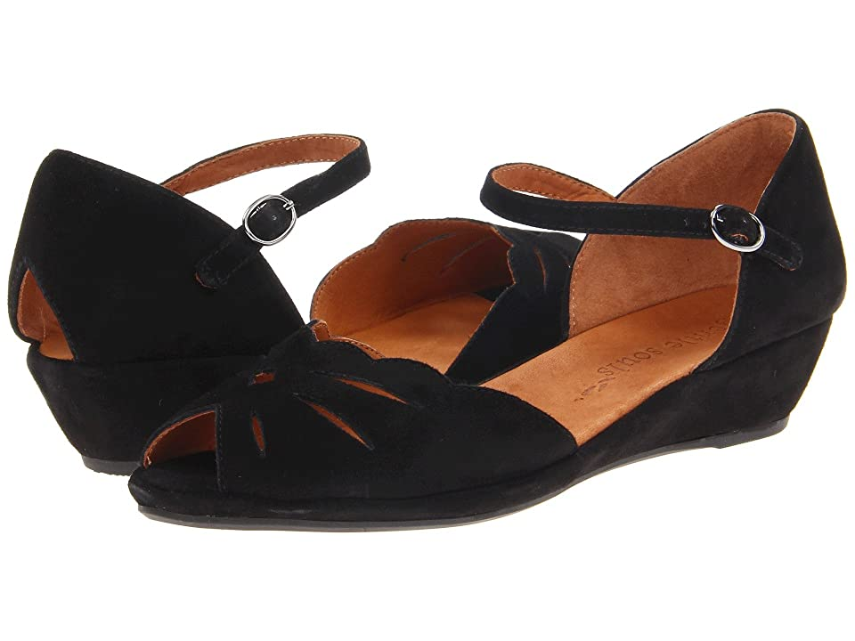 Vintage Sandal History: Retro 1920s to 1970s Sandals Gentle Souls by Kenneth Cole Lily Moon Black Womens Wedge Shoes $159.95 AT vintagedancer.com
