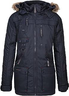 Chirac - Parka de invierno para hombre, capucha de piel extraíble