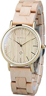 Bewell 163AL Minimalist Casual Wood Dress Watch for Women, Couple Type Beige Analog Quartz Glossy Stainless Steel Case Female Wristwatch