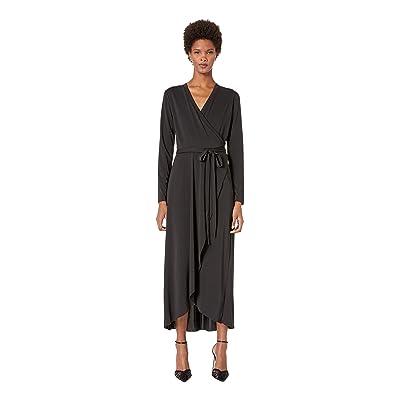 Nicole Miller St. Matte Jersey Wrap Dress (Black) Women