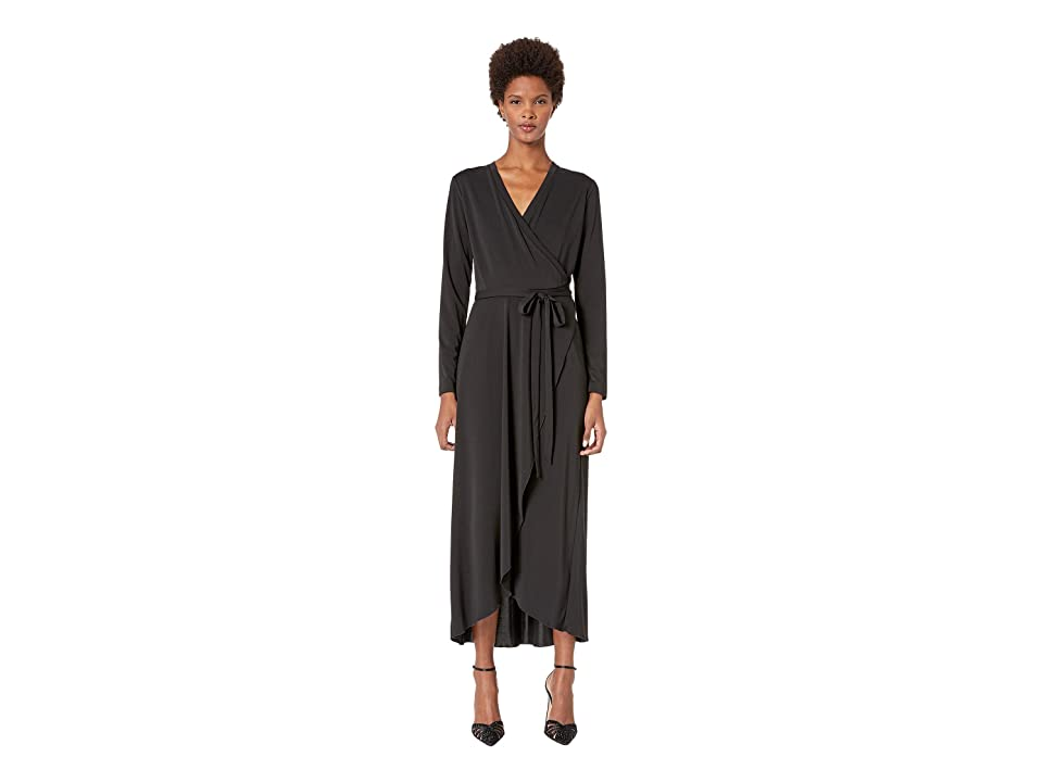 Nicole Miller St. Matte Jersey Wrap Dress (Black) Women