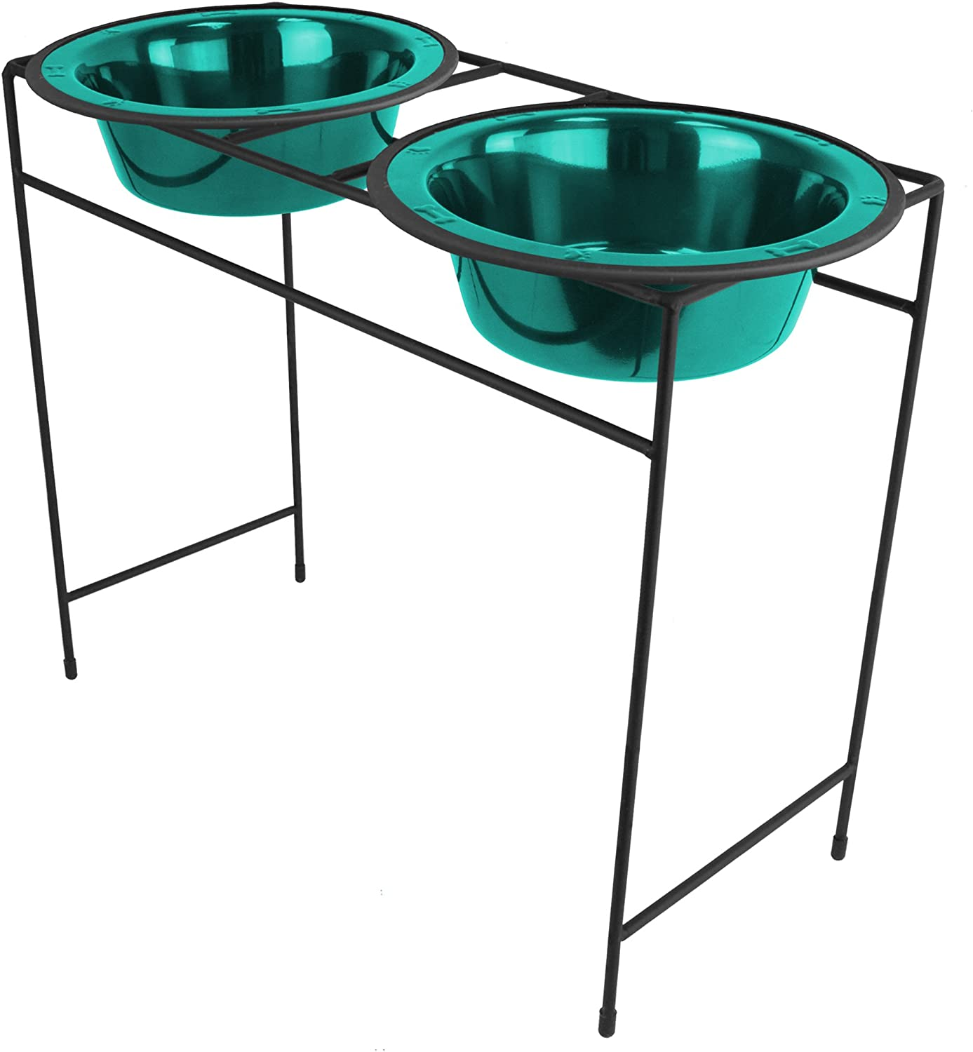 Platinum Pets Double Diner Feeder with Stainless Steel Dog Bowls, 80 oz, Teal