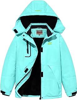 WULFUL Girl's Waterproof Ski Jacket Warm Fleece Hooded Winter Snow Coat